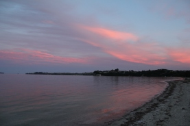 Pink skies at night. Dusk in Kawau Bay, March 2014