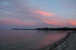 Pink skies at night. Dusk in Kawau Bay, March 2014
